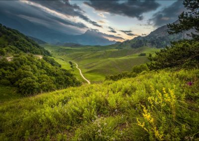 Landscape of national Park Erzi in Ingushetia, Russia. Beautiful